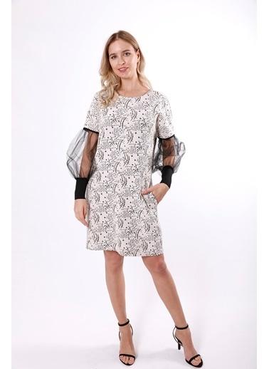 Clıche Kolları Tül Detaylı Triko Elbise  Bej